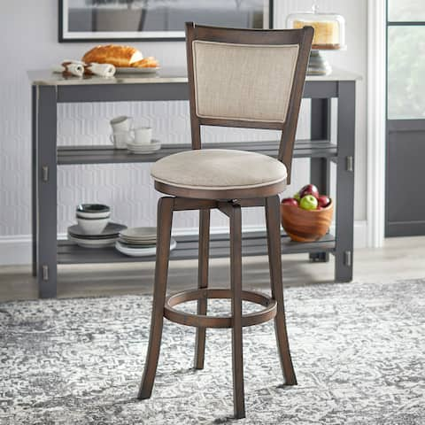 Simple Living French Country Grey Rubberwood/ Fabric 30-inch Swivel Bar Stool