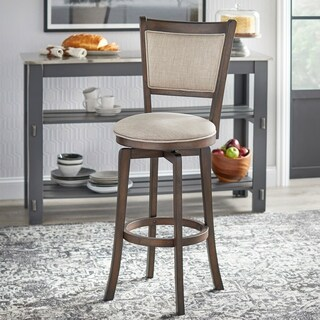 Simple Living French Country Grey Rubberwood/Fabric 30-inch Swivel Bar Stool - N/A