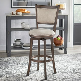 Simple Living French Country Rubberwood/ Fabric 30-inch Swivel Bar Stool