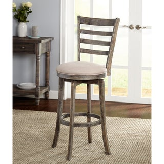 Simple Living Ashton Ladder Back Rubberwood/Linen/Foam Weathered Grey Swivel Stool