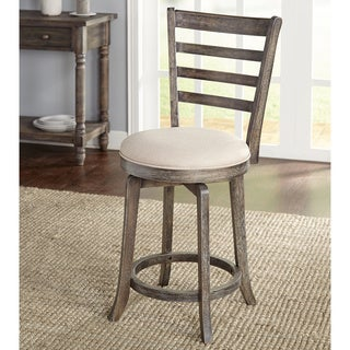 Simple Living Ashton Weathered Rubberwood/Linen/Foam 24-inch Ladderback Swivel Stool - N/A