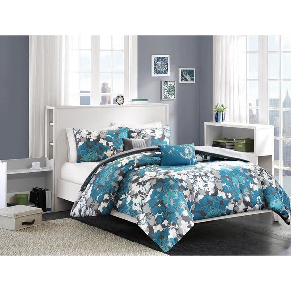 Intelligent Design Barb Blue Comforter Set