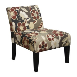 Trendsetter Red/Beige/Brown Polyester/Fabric/Foam Armless Slipper Accent Chair