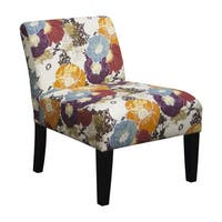 Multicolored Fabric Armless Floral Accent Chair