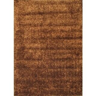 eCarpetGallery Shaggy Modena Handmade Brown Acrylic Rug (5'6 x 7'10)
