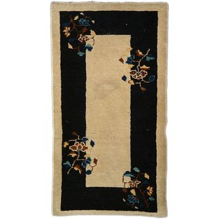 eCarpetGallery Hand-Knotted Aubousson Beige/Black Wool Rug (2'1 x 3'9)