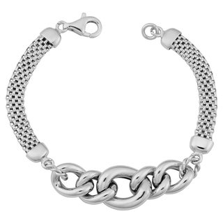 Argento Italia Rhodium Plated Sterling Silver Bold Graduated Curb Bracelet (7.25 inch)
