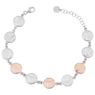Argento Italia Two-Tone Sterling Silver Hammered Disc Adjustable Length Bracelet (8 inches)