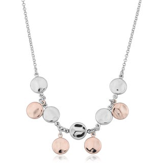 Argento Italia Two-Tone Sterling Silver Hammered Disc Adjustable Length Necklace (19 inch)
