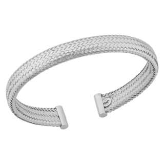 Argento Italia Rhodium Plated Sterling Silver 8.5-mm Weave Open Bangle Bracelet (7 inch)