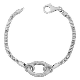 Argento Italia Rhodium Plated Sterling Silver Textured Oval And Fancy Popcorn Chain Bracelet (7.5 inch)