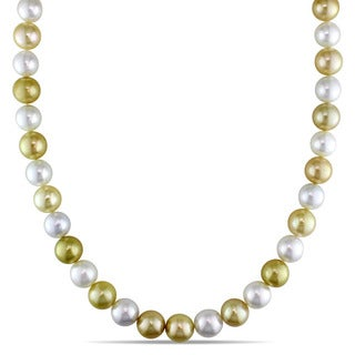 Miadora Signature Collection 14k Yellow Gold Multi-colored Cultured South Sea Pearl Strand Necklace (9-10.5mm)