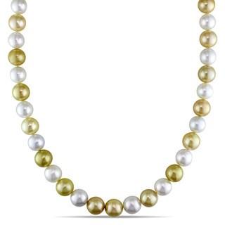 Miadora Signature Collection 14k Yellow Gold Multi-colored Cultured South Sea Pearl Strand Necklace (9-10.5mm)
