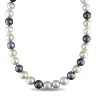 Miadora Signature Collection 14k Yellow Gold Multi-colored Cultured South Sea and Tahitian Pearl Strand Necklace (11-12.8mm)