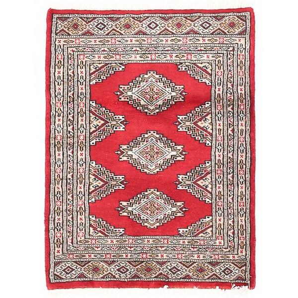 Herat Oriental Pakistani Hand-knotted Bokhara Wool Rug (2'1 x 2'9)