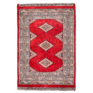 Herat Oriental Pakistani Hand-knotted Bokhara Red/ Beige Wool Rug (2' x 2'11)