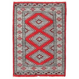 Herat Oriental Pakistani Hand-knotted Bokhara Red/ Beige Wool Rug (2'1 x 2'11)