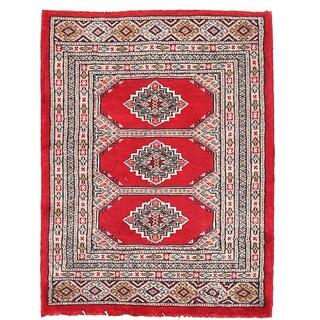 Herat Oriental Pakistani Hand-knotted Bokhara Red/ Beige Wool Rug (2'1 x 2'9)