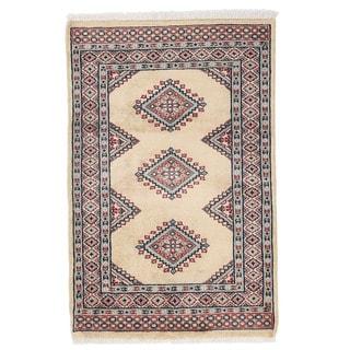 Herat Oriental Pakistani Hand-knotted Bokhara Ivory/ Gray Wool Rug (2' x 3'1)
