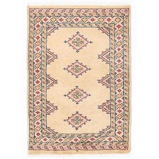 Herat Oriental Pakistani Hand-knotted Bokhara Ivory/ Salmon Wool Rug (2' x 2'11)