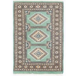 Herat Oriental Pakistani Hand-knotted Bokhara Green/ Ivory Wool Rug (2'1 x 2'11)