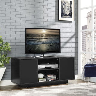 Portal Black MDF and Tempered-Glass TV Stand