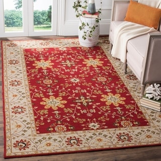 Safavieh Hand-hooked Easy to Care Red/ Ivory Rug (6' x 9')