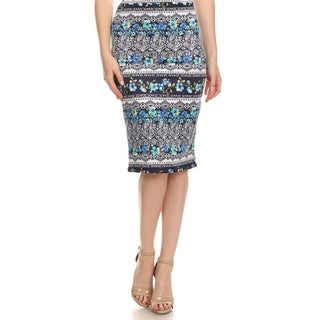 MOA Collection Women's Multicolor Polyester and Spandex Ornate Floral Skirt