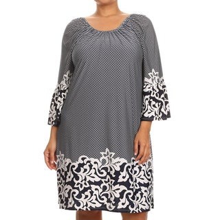 MOA Collection Black Polyester/Spandex Plus-size Paisley Dress