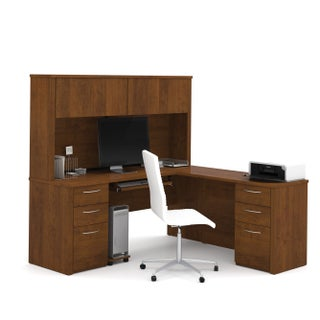 """Bestar Embassy 71"""" L-shaped desk with hutch (2 options available)"""