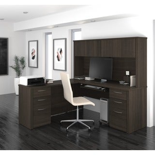 "Bestar Embassy 71"" L-shaped desk with hutch"