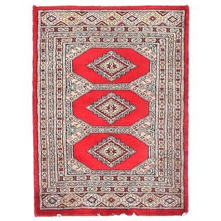 Herat Oriental Pakistani Hand-knotted Bokhara Red/ Ivory Wool Rug (2'1 x 2'10)
