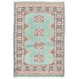 Herat Oriental Pakistani Hand-knotted Bokhara Light Blue/ Ivory Wool Rug (2'2 x 3'2)