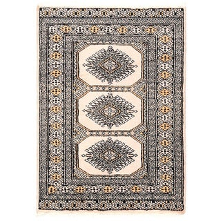 Herat Oriental Pakistani Hand-knotted Bokhara Ivory/ Beige Wool Rug (2'2 x 3')