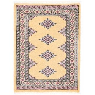 Herat Oriental Pakistani Hand-knotted Bokhara Light Gold/ Ivory Wool Rug (2'2 x 2'11)