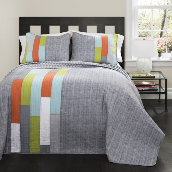 Lush Decor Shelly Orange/ Blue Stripe Quilt Set