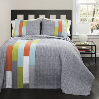 Lush Decor Shelly Orange/ Blue Stripe Quilt Set