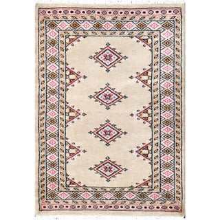 Herat Oriental Pakistani Hand-knotted Bokhara Ivory/ Beige Wool Rug (2'2 x 3'2)