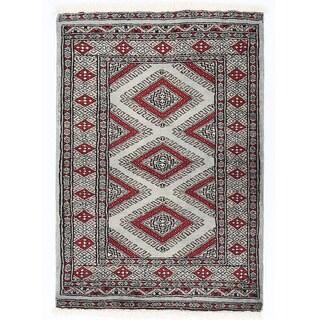 Herat Oriental Pakistani Hand-knotted Bokhara Gray/ Beige Ivory Wool Rug (2'1 x 3'1)