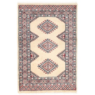 Herat Oriental Pakistani Hand-knotted Bokhara Ivory/ Red Wool Rug (2' x 3')