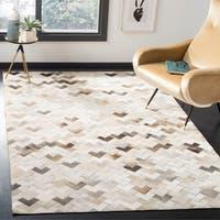 Safavieh Hand-woven Studio Leather Modern Geometric Grey Leather Rug - 5' x 8'