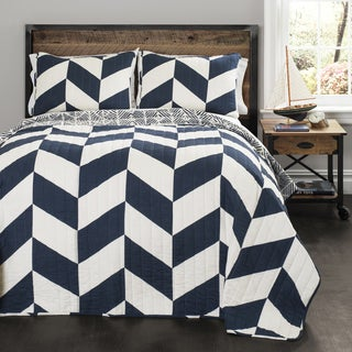 Lush Decor Jigsaw Navy Chevron 3-piece Quilt Set