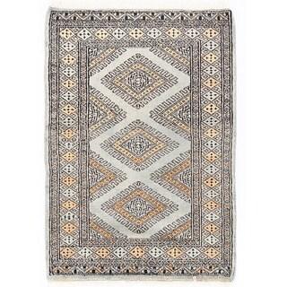 Herat Oriental Pakistani Hand-knotted Bokhara Gray/ Beige Wool Rug (2'1 x 3')