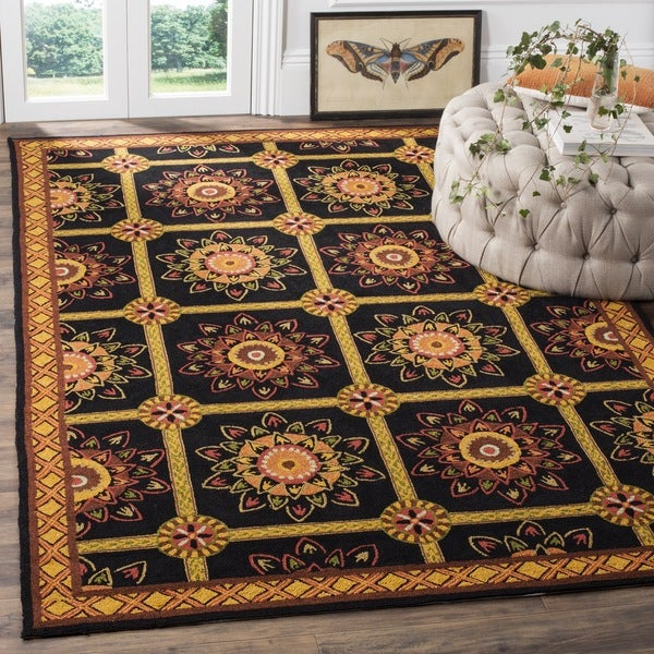 Safavieh Hand-hooked Easy to Care Black/ Yellow Rug - 8' x 10'