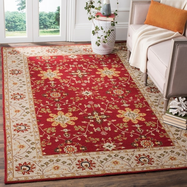 Safavieh Hand-hooked Easy to Care Red/ Ivory Rug - 8' x 10'