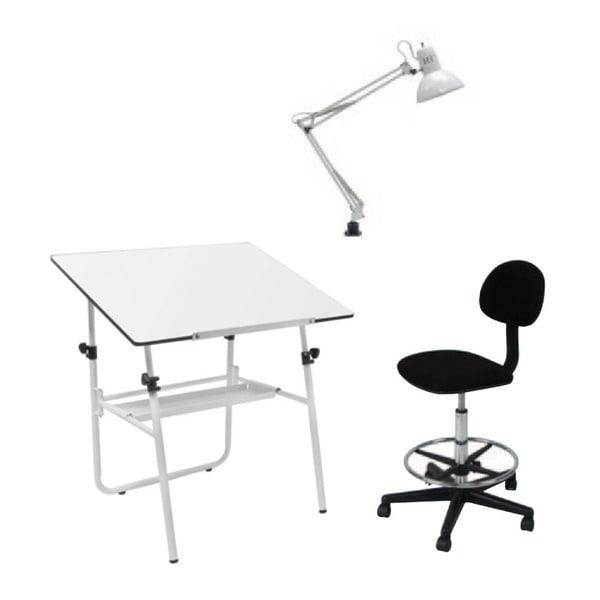 Offex White Height Adjustable 3-piece Studio Set