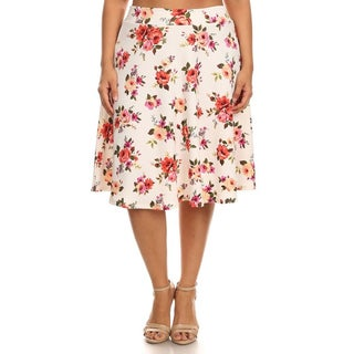 MOA Collection Women's Polyester/Spandex Floral Flared Skirt