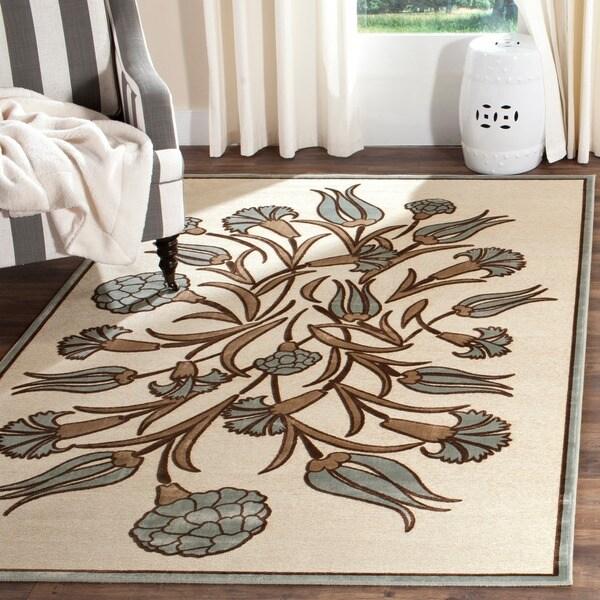 Martha Stewart by Safavieh Floral Arabesque Ivory Viscose Rug - 7'10 x 11'2
