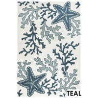 Rizzy Home Tan Azzura HIll Indoor/Outdoor Coral Accent Rug (2' x 3') - 2' x 3'