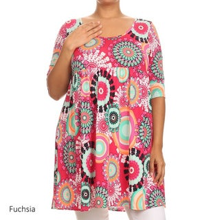 MOA Collection Plus-sized Women's Polyester and Spandex Medallion Dress
